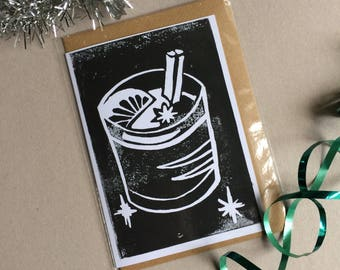 Mulled Wine - Blank Christmas Linoprint Greeting Card in Black with Vegan Envelope - 100% Recycled Paper and Biodegradable Packaging