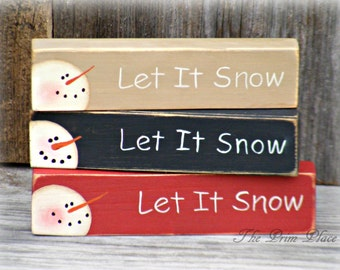 Small Hand Painted Snowman Block ~ Shelf Sitter Block ~ Winter Decor ~ Snowman Decor ~ Primitive Christmas Decor ~ Snowmen