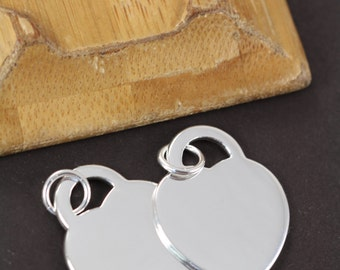 Heart Pendant for Engraving and Stamping Blanks Sterling Silver Rhodium Plated 18 Gauge Wholesale