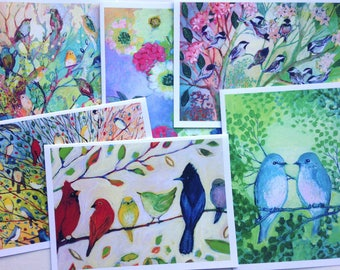 Colorful Birds - set of Blank Note Cards by Jenlo