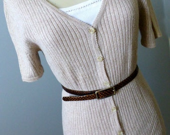 Ladies Short Sleeve Sweater Knit Cardigan  - S/M - Vintage Cotton Ramie Rib Jacket Top-Oatmeal Beige