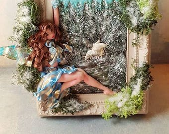 Snowy forest, picture frame, polymer clay painting, miniature polymer clay, fimo fairy polymer art doll, fairy polymer clay, polymer clay fairies