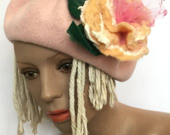 Pink Beret, Tam Hat, Tattered Rose Flower, Flapper Roaring 20s Hat, French Beret, Bonnie and Clyde Beret, Wool Felted Hat, Great gift item
