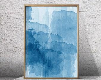 Blue Watercolor Abstract Painting Minimalist Art Indigo Blue Navy Wall art Large Abstract Print Modern Art Contemporary Minimal Printable