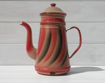 Rare French Vintage Pink Coffeepot, Vintage Enamel Cafetiere, Pink Enamelware, Red Enamelware, Shabby Chic, Country Home, French kitchen