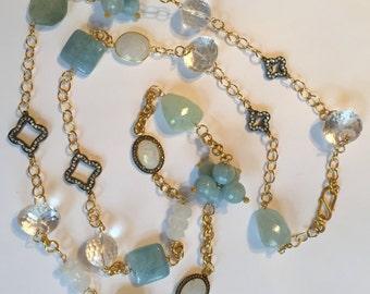 Aquamarine Moonstone Diamond Gemstone Statement Necklace Long, Rock Crystal, 24K Vermeil Gold Sterling Silver Chain,  CZ Clover Connector
