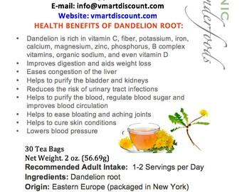 Simply Natural 100% Organic Roasted Dandelion Root Herbal Tea (30 Tea Bags) - Caffeine Free