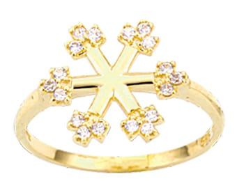Snow Flake 14k Solid Gold Ring