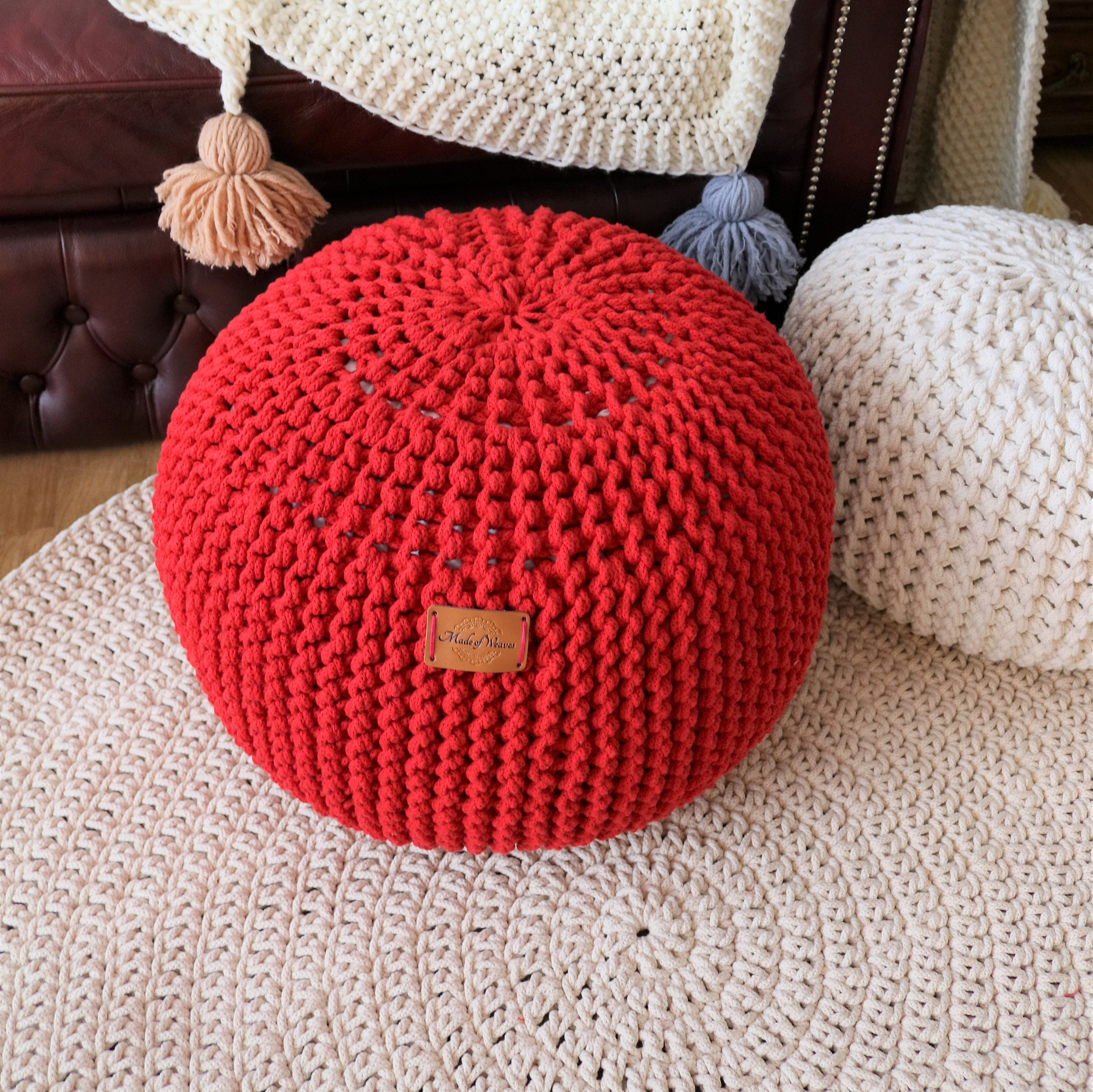 Grobstrick Doppel-Schnur / Small Medium Big RED Puff /