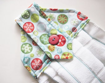 Hanging towel  Kitchen towel button top winter Christmas  Quiltsy Handmade