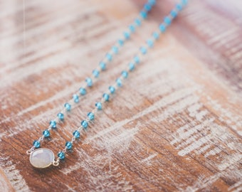 Moonstone and Blue Topaz Necklace