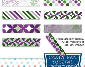 Amethyst Emerald Geometric Washi Tape Clipart, Purple Green Washi Clip Art - Commercial Use OK