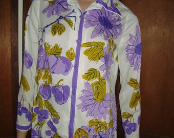 60's Vera Blouse Purple and Gold Flowers