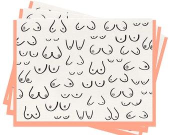 Letterpress 'The Girls' Folded Greeting Cards - Set of 6