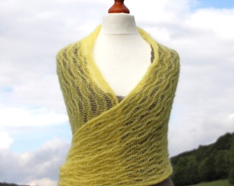 Bridal shawl, knitted stole wedding, wedding wrap, knit scarf mohair, lace pattern, yellow ,wedding 2013