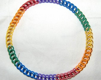 Stretchy Gay Pride rainbow chainmaille necklace