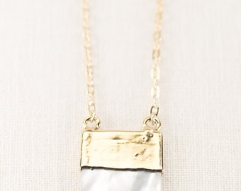 Momi necklace - gold shell necklace, square gold necklace, gold necklace, gold pendant necklace, hawaii wedding, jewelry, boho jewelry,