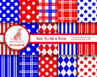 INSTANT DOWNLOAD - Red White and Blue Digital Paper Pack - Background Sheets - Commercial Use (CU)