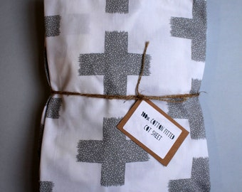 Fitted Cot Sheet / Fitted Crib Sheet in Large Grey Swiss Cross print - READY TO SHIP by Little Dreamer
