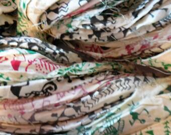 45 yards  Marketplace,  Block Print Sari Silk ribbon,  Fair Trade in India,