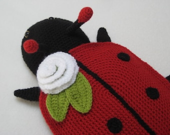 Ladybug Hot Water Bottle Cover Cosy PJ Pyjama Case Crochet PATTERN PDF