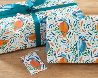 Bright Kingfisher Wrapping Paper - 100% Recycled