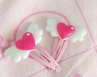 Heart wing hair clips