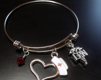 LPN Bangle Bracelet-Swarovski Crystal and LPN Charms-Great Gift Ideas