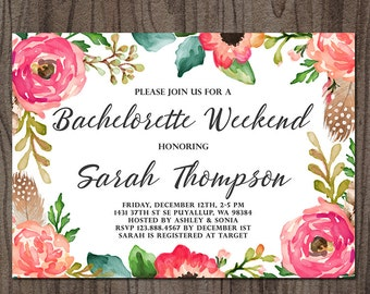 Bachelorette Weekend Invitation, Bachelorette Party Invitation, Boho Floral Bridal Shower Invitation, Hens Party Invitation