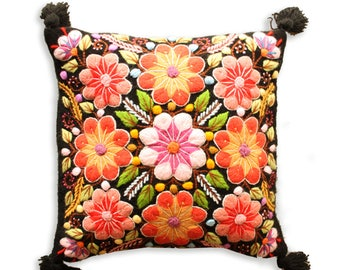 Peruvian Wool Floral Pillow cover, Peruvian Alpaca Pillow,  Embroidered Pillow Case, Hand Embroidered, Wool Tapestry, Free Shipping
