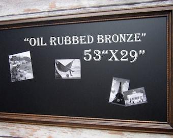 """Large Framed Chalkboard OIL RUBBED BRONZE Finish Wood Framed Xl - Magnet Home Office Furniture 53""""x29"""" Espresso Brown Wood Framed Blackboard"""