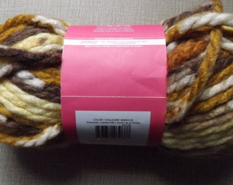 Downtown Super Bulky Isaac Mizrahi Premier Lexington Shades of Gold  and Browns, Off White So Soft Wonderful to Crochet and Knit with