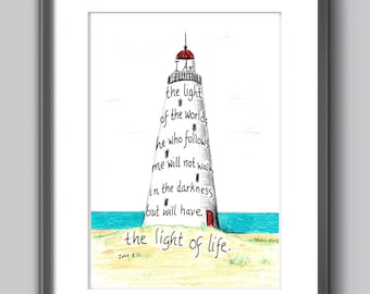 Lighthouse, Bible Verse art print, hand lettered typography, wall art decor, John 8:12