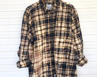 XLARGE - Flannel Shirt - Bleached - Vintage Washed Flannel - Oversized Flannel - Distressed Flannel - Plaid Shirt - Fall Shirt - #114 BM
