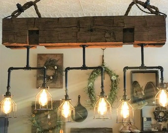 Beam Chandelier handmade from reclaimed wood