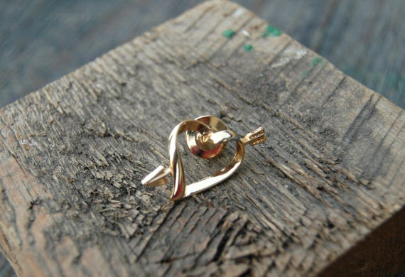 Gold Heart with Arrow Pin Small Gold Heart Pin Gold Avon