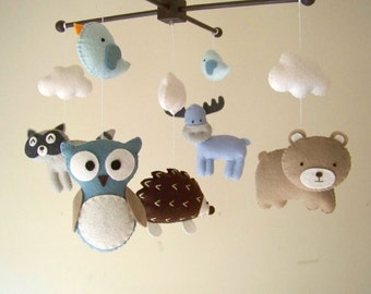 "Baby crib mobile, forest mobile, animal mobile , felt mobile ""Forest friends 12"" - Raccoon, Owl, Hedgehog, Bear, and Moose"