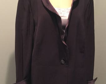 Saks Fifth Ave by Sunny Choi Women 24 Purple Jacket Tuxedo Front Evening Fitted Formal Design  with Purple Silk Ruffled Collar and Cuffs