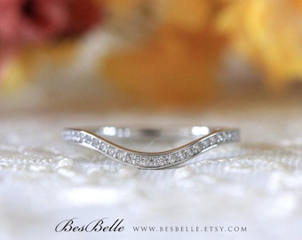 0.25 ct.tw Curve Wedding Ring-Brilliant Cut Micro Pave Diamond Simulant-Half Eternity Ring-Stackable Band Ring-Sterling Silver [7254H]