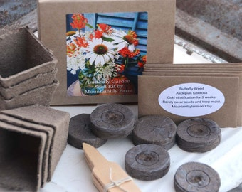 Butterfly Seed Kit, Butterfly Garden Plants, Heirloom Seed Kit, Gardening Gift Set, Great Gift for Mom, Easy to Grow Butterfly Garden Kit