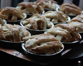 gourmet mini pie, gourmet fruit mini pies, mini  tartlets, mini tarts, handmade pies,fresh pie ,cherry blueberry peach apple pie ,3-3.5 LBS