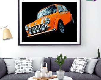 Mini Cooper Sport Pack - Orange Mini Photographic Design - Art Print- Mini Cooper Sport Pack - Classic Mini Car - Austin Mini Cooper