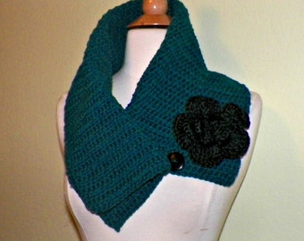Teal Blue Green Cowl Scarf Infinity Button Neckwarmer Collar  With Flower Brooch Freeform Crochet