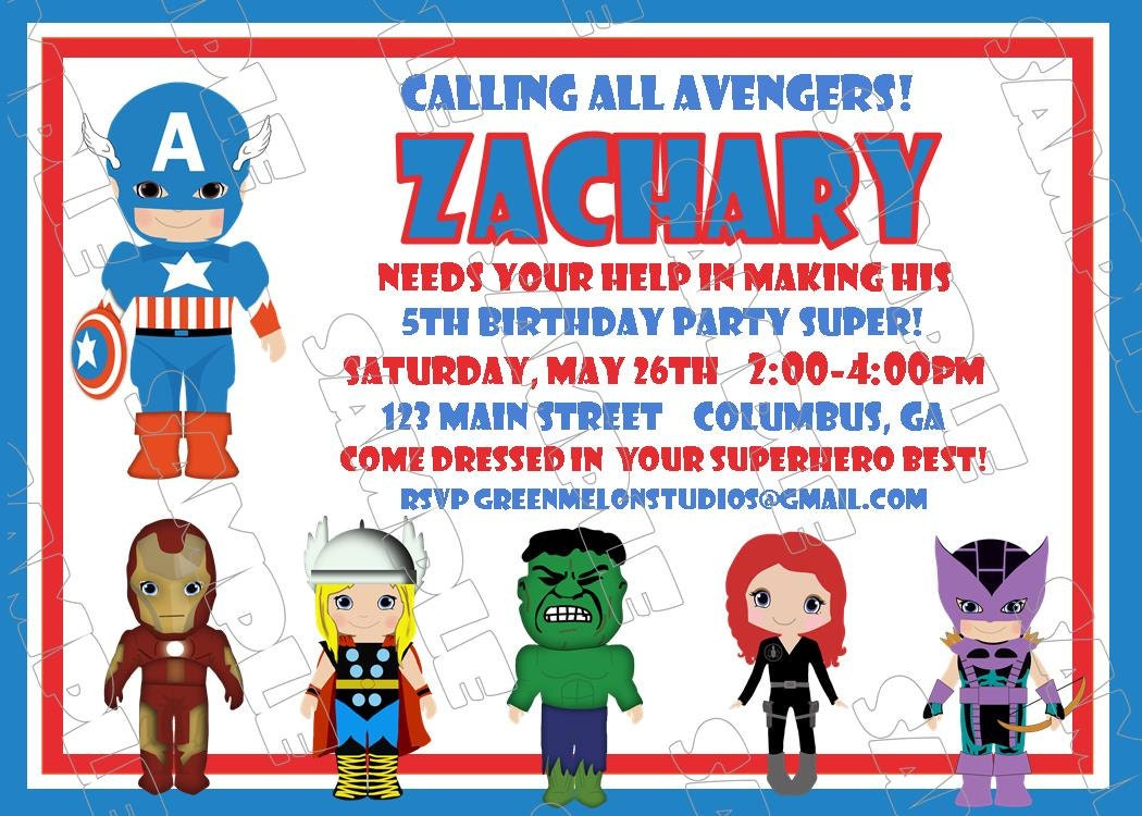 Avengers Captain America inspired birthday party printable