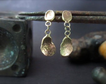 14k Yellow gold earrings with unique design.Handmade drop dangle gold earrings.Free shipping
