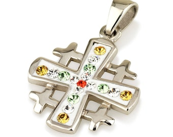 Jerusalem Cross Pendant Sterling Silver 925 With Colored Mix Gemstone