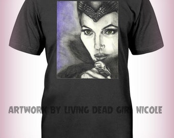 "Portrait T-Shirt : ""I Had Wings Once"" - Disney Angelina Jolie Maleficent Villain Fairy Queen"