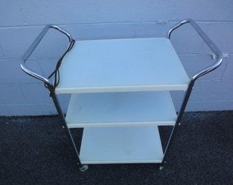White Enamel Utility Cart/1950's Utility Cart/Vintage Kitchen Carts/White Kitchen Cart/Vintage Furniture/White Carts/Vintage Kitchen Carts