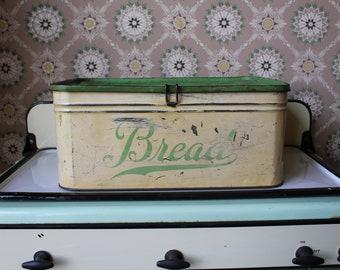 Vintage Bread Box, Green and Cream Bread Box, Depression Green Bread Box, Metal Bread Box, Tin Bread Box for your Farmhouse Kitchen