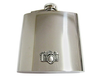 Textured Camera 6 oz. Stainless Steel Flask